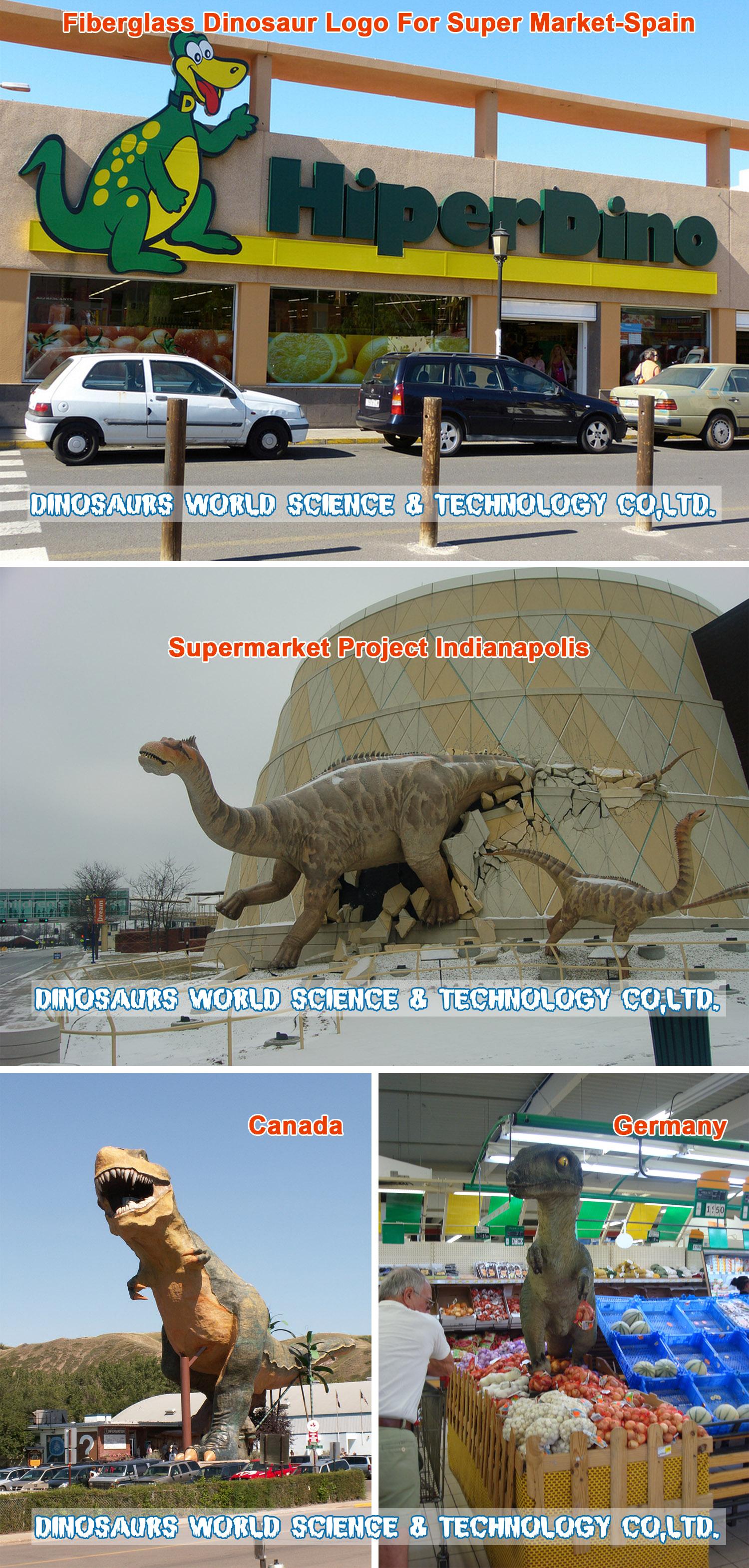 fiberglass dinosaurs,fiberglass T-rex,dinosaurs supermarket project