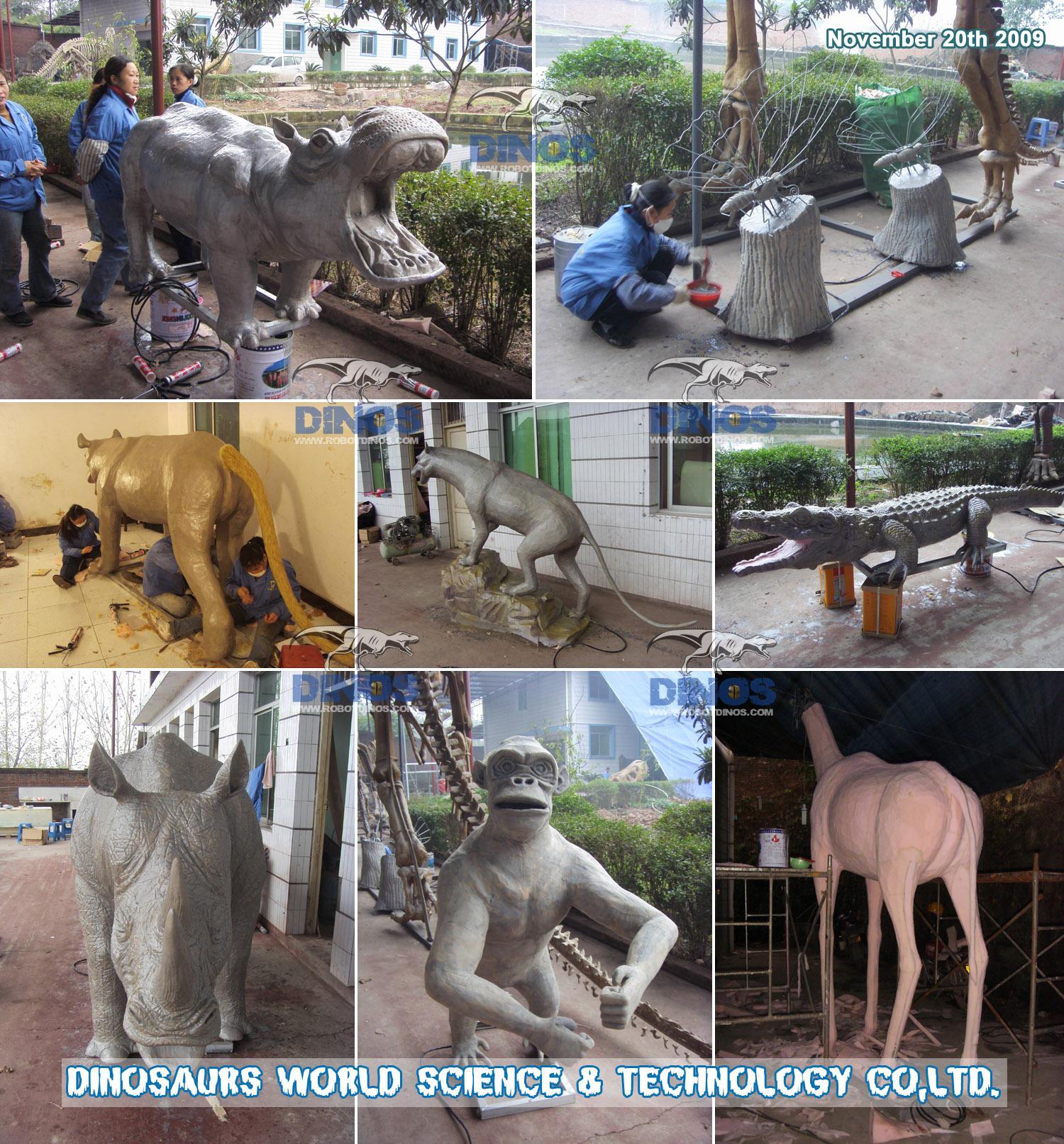 animatronic lion , giraffe , butterflies , hippo , rhinoceros , leopard , crocodile , elephant making process in factory