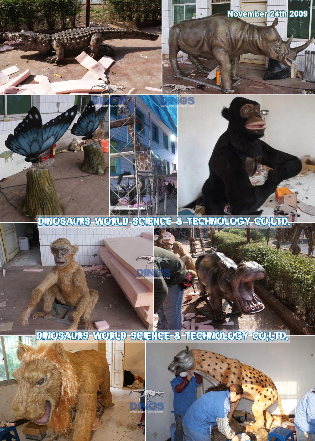 Animatronic lion , giraffe , butterflies , hippo , rhinoceros , leopard , crocodile , elephant , monkey etc..finished in factory