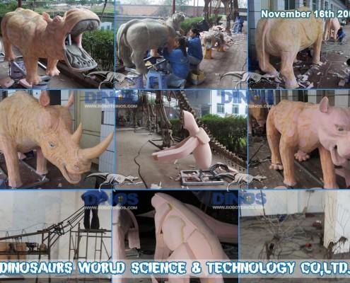 animatronic lion , giraffe , butterflies , hippo , rhinoceros , leopard , crocodile , elephant making process in factory 2