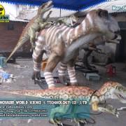 Animatronic Iguanodon Attacked By Three Raptor