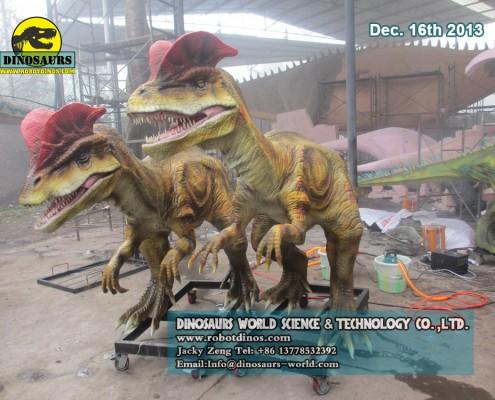 Two Spitting Realistic Dinosaur Dilophosaurus
